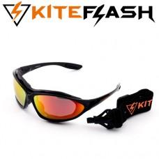Очки для кайтсерфинга Kiteflash Brilliant Black Amalgam lenses red